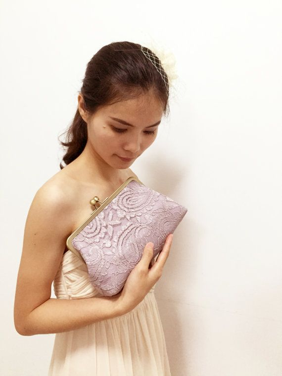 Lilac Lace bridesmaid clutches Lavender Wedding by SheetaDesign