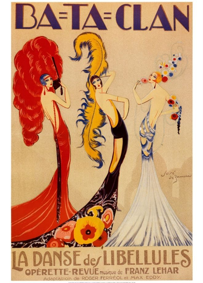 La Danse des Libellules (Dance of the Dragonflies) Operetta. Poster by Jose de Zamora(Spanish,1899-1971).1920s. Paris. Vintage French theatre advertising art poster for the Ba-Ta-Clan Opérette-Revue featuring three gorgeously adorned French show girls on stage. Music by Franz Lehar. Adaptation by Roger Ferréol and Max Eddy.