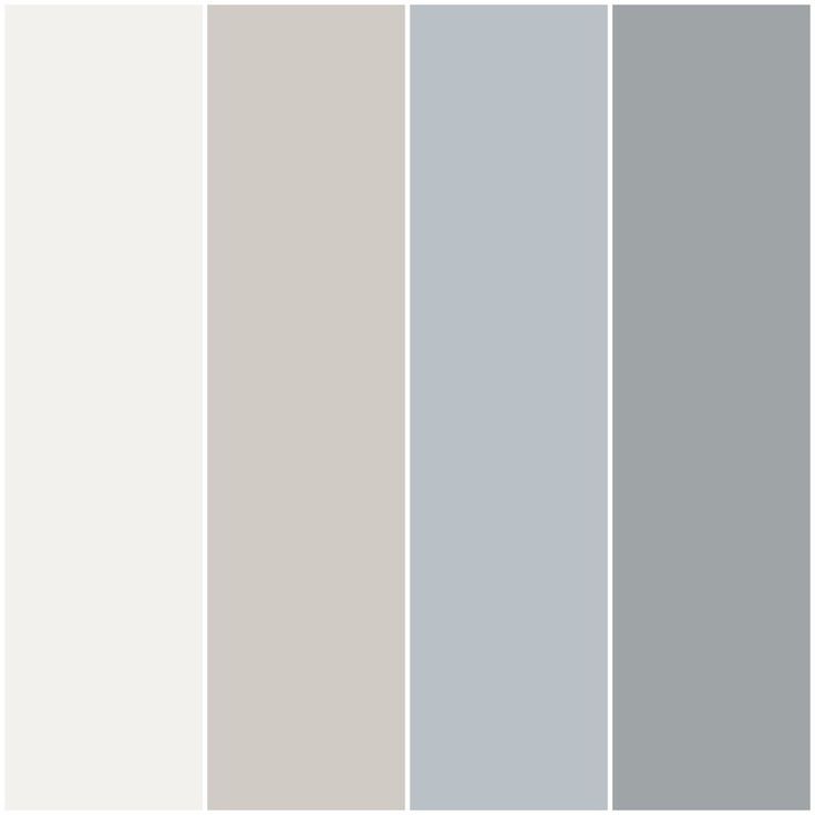 Color palette I made for my house with Behr paint in Nano White, Burnished Clay, Distant Star and Silent Film.