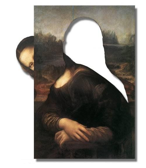 Mona Lisa gets Cut Out of her Picture, pop art, collage art.
