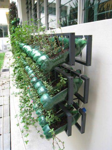 Vertical Garden from Soda Bottles Flowers, Plants & Planters