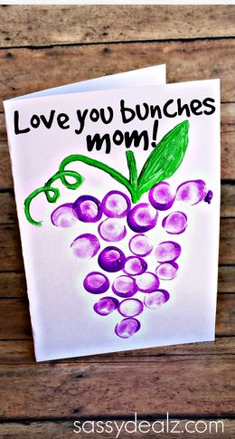 """Love You Bunches"" Kids Thumbprint Grapes Card #Mothers day gift idea 