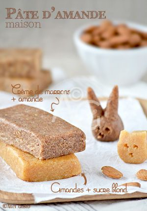 Et même une à la crème de marrons ! Oh-la-la ! Je suis une assez grande consommatrice de pâte d'amande… Je l'apprécie vraiment beaucoup ! Je l'utilise en cuisine, dans des gâteaux, des biscuits ou alors je la grignote avec gourmandise…...