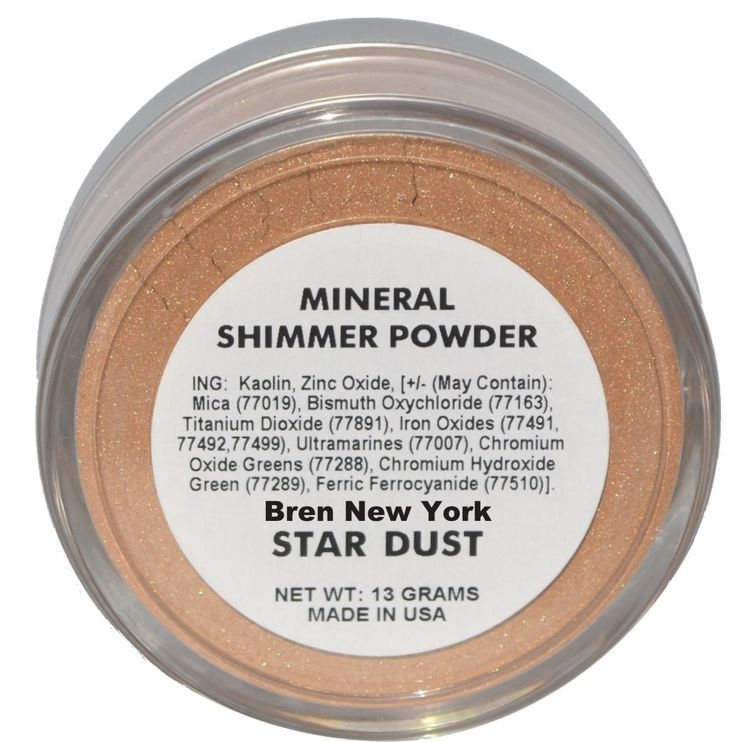 Star Dust ~ Mineral Shimmer Powder ~ Paraben Free Unique light reflecting mineral shimmer powder will give you that luminous glow you truly desire. Can be used on face and body and is perfect for all skin tones. Unlike traditional makeup there are no oils, talc, fragrances, synthetic colorants or dyes.