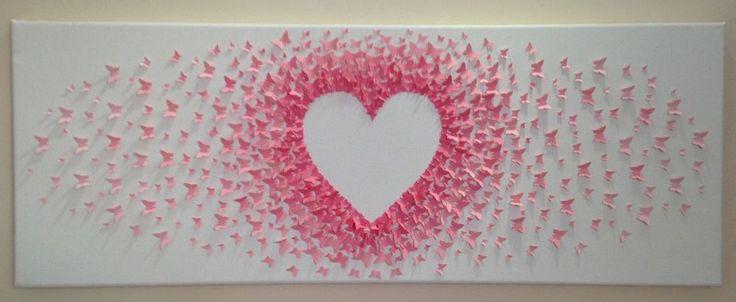 custom handmade 3D paper butterfly canvas, butterflies, nursery, wedding, heart