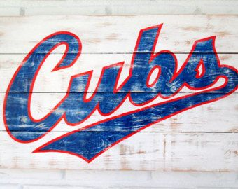 Rustic Chicago Cubs Baseball Aged Wood Sign by VintageSignDesigns