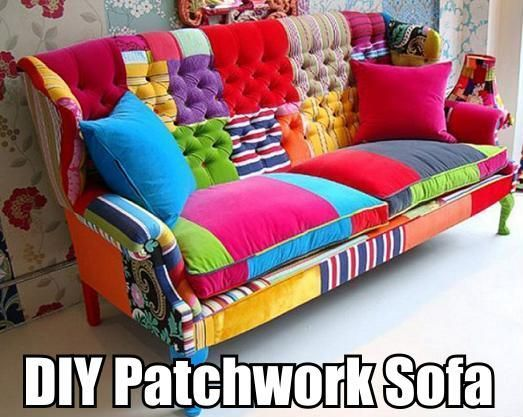 DIY Patchwork Sofa - http://decorating-hq.com/diy-patchwork-sofa/