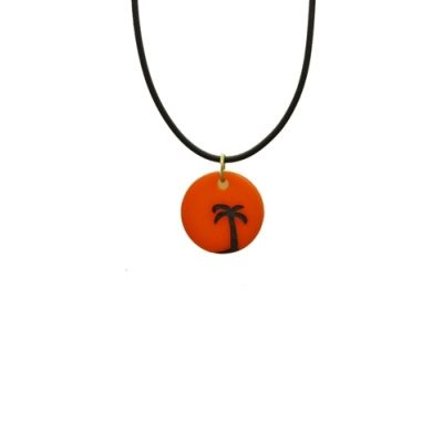 Palm Tree Sunset disc charm Necklace a great beach jewellery piece