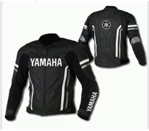 Black Yamaha motorycle jacket with armor protection
