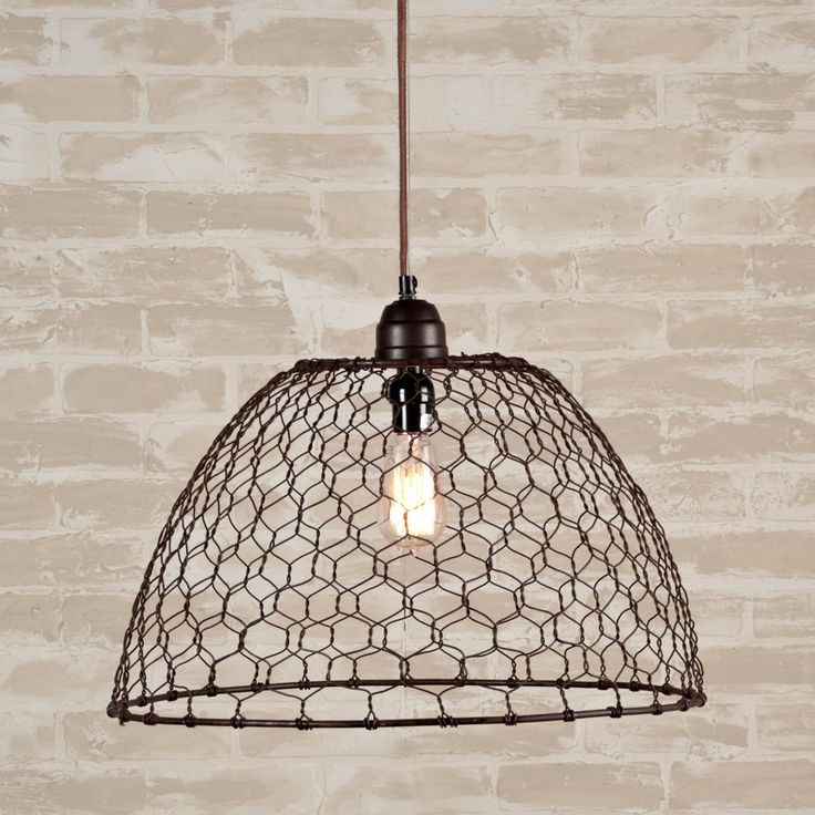"$179.00 - Chicken Wire Basket Pendant Light (12""H x 19""W); imagine it painted a bright red or yellow."