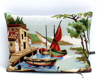 French Vintage Needlepoint Tapestry Mediterranean Port Fishing boats reworked with Blue denim weave reverse Cushion Coussin