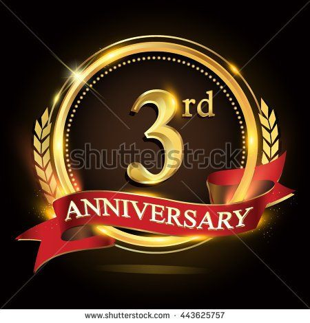 3rd golden anniversary logo, 3 years anniversary celebration with ring and red ribbon, Golden anniversary laurel wreath design - stock vector
