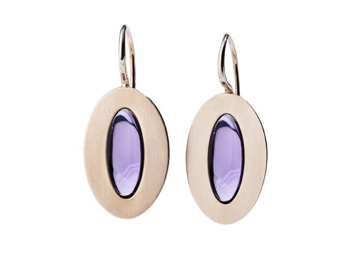 Orecchini ametista earrings gold oro rosa pendant queriot jewellery gioiello fashion luxury
