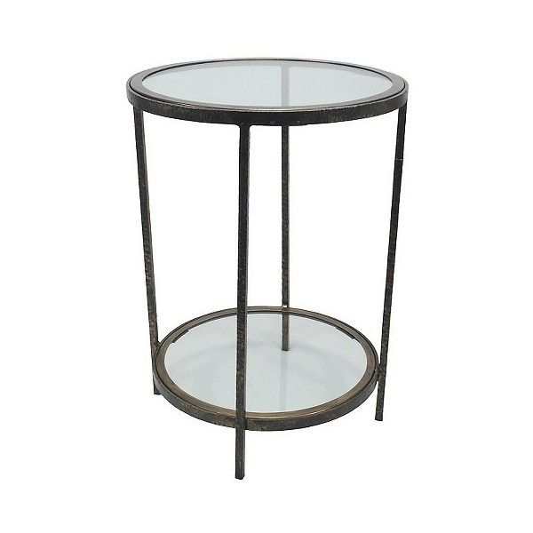 Charming Accent Table: Threshold Round Metal And Glass Accent Table ($95) ❤ Liked On