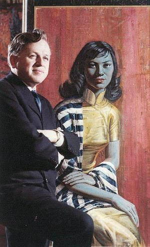 Tretchikoff and his Mandarin Girl. This is the same model who sat for his famous Miss Wong and Lady from Orient.