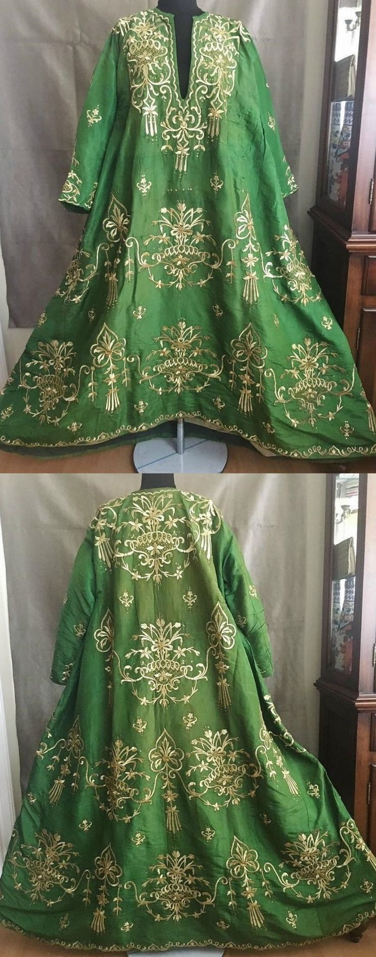 """19th century late-Ottoman women's bridal dress """" bindallı """". Hand loomed silk fabric exquisitely hand embroidered with golden metallic thread (dival work)."""