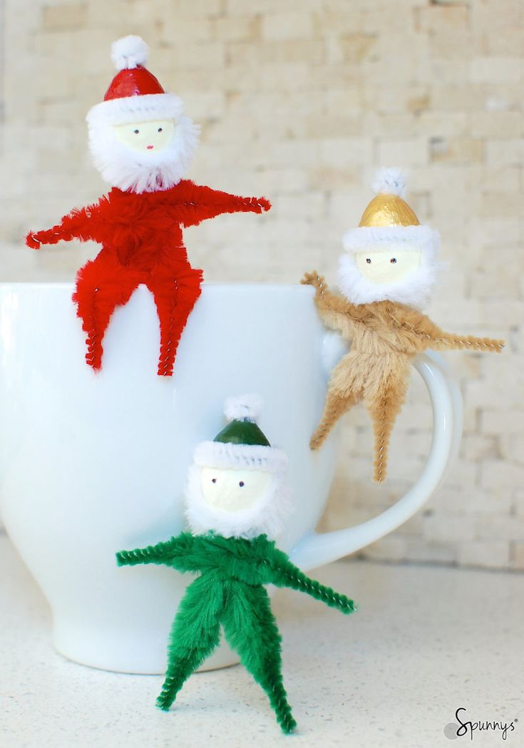 1000 images about spun cotton shapes christmas craft for Pipe cleaner christmas crafts