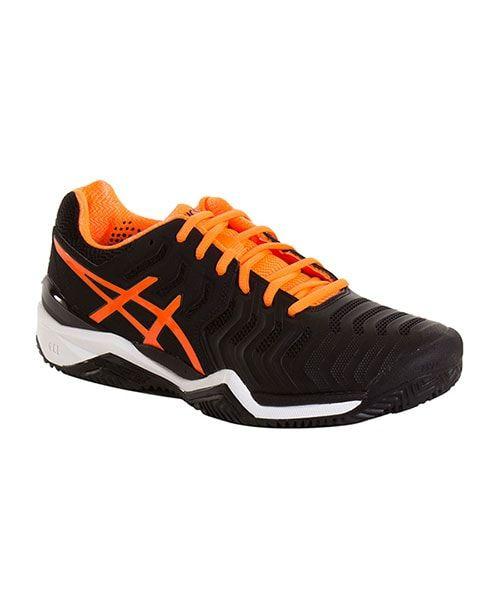 zapatillas asics negras y naranjas