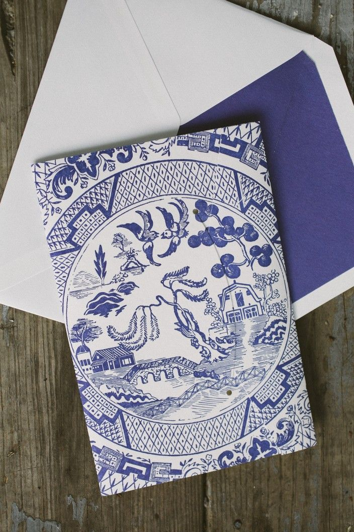 Custom chinoiserie inspired pocketfold wedding invitations from Smock