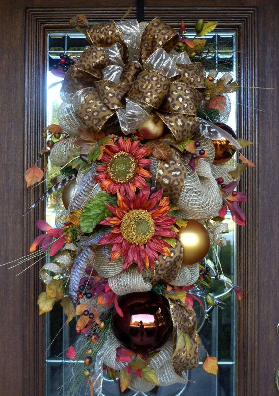 Deco Mesh FALL SWAG WREATH via Etsy