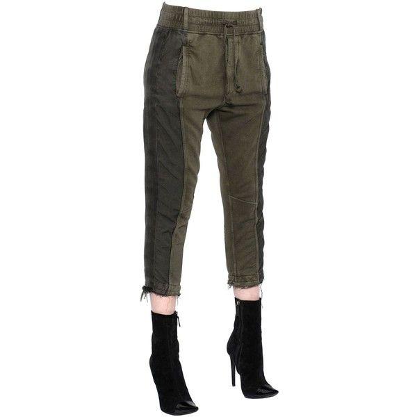 Haider Ackermann Women Cotton Jersey Jogging Pants ($895) ❤ liked on Polyvore featuring pants, khaki, jogger pants, khaki pants, khaki trousers, khaki jogger pants and jogger trousers