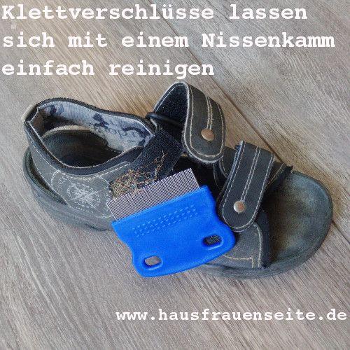 Klettverschlüsse  Ein toller Tipp von Fropsi, mit dem sie die Klettverschlüsse an den Schuhen ihres Sohnes gründlich säubert