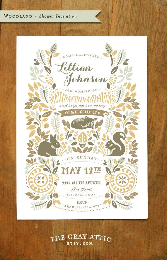 Woodland Baby Shower Invitation Autumn Forest by TheGrayAttic