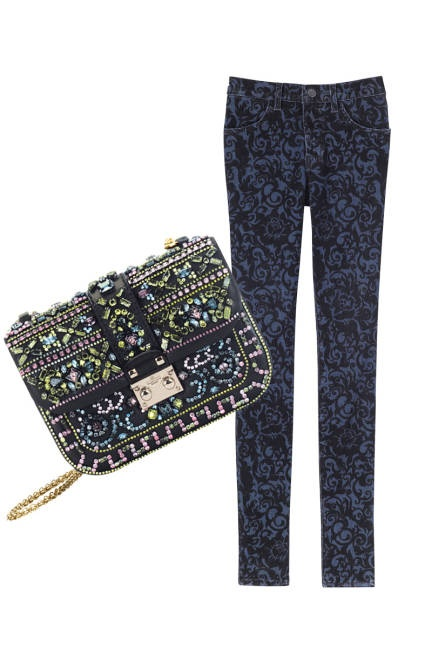 BrocadeFall Lust, Prints Jeans, J Brand Jeans, Lust Lists, Brocade Beautiful, Valentine Garavani, Dark Prints, Crystals Embroidered Handbags, Garavani Handbags