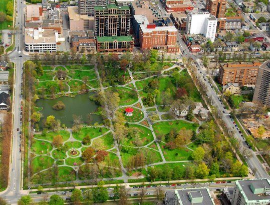 Beautiful Halifax Public Gardens from the air.
