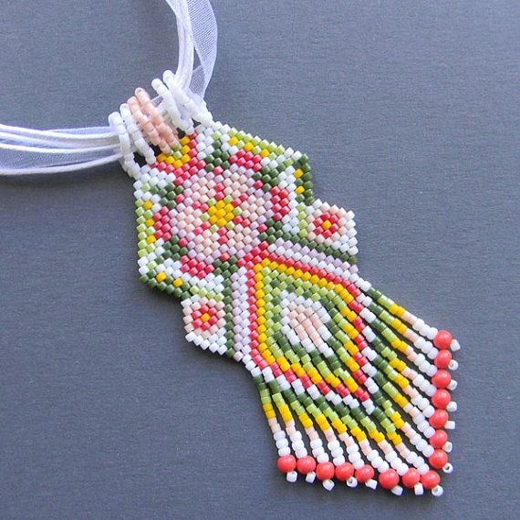 Flower Beaded Pendant peyote necklace ethnic by Anabel27shop,