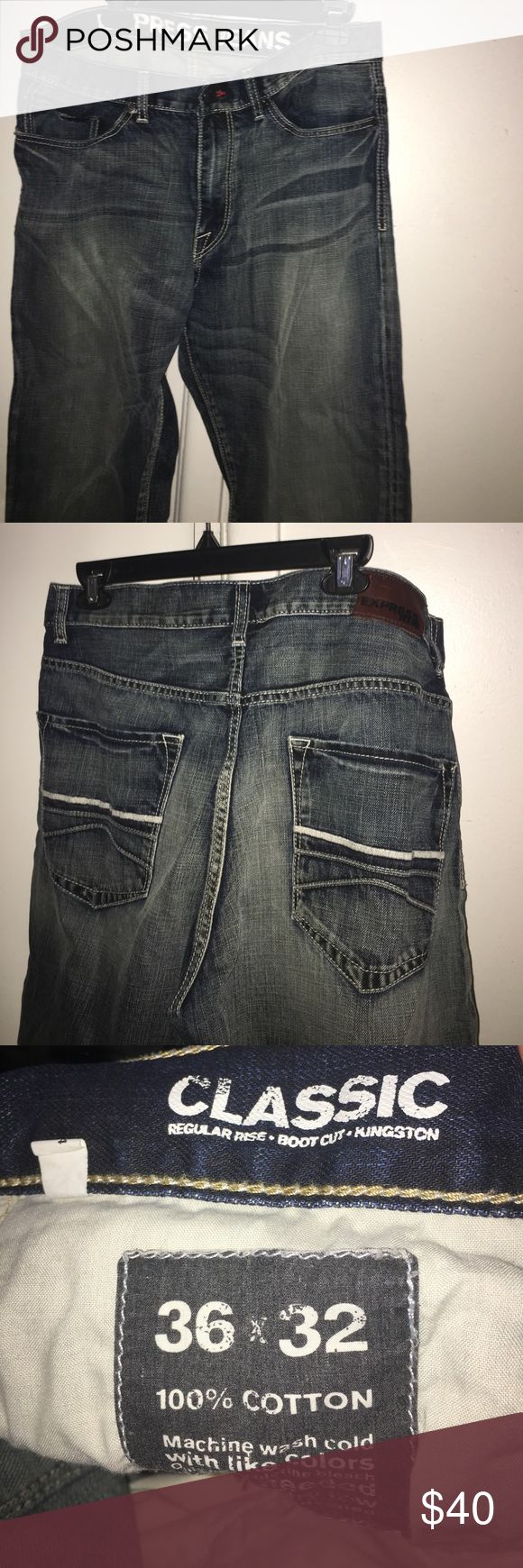 Express Men's Jeans Regular Rise / Bootcut Fit /Medium Wash Jeans . Worn one time . Kingston Express Jeans Express Jeans Bootcut