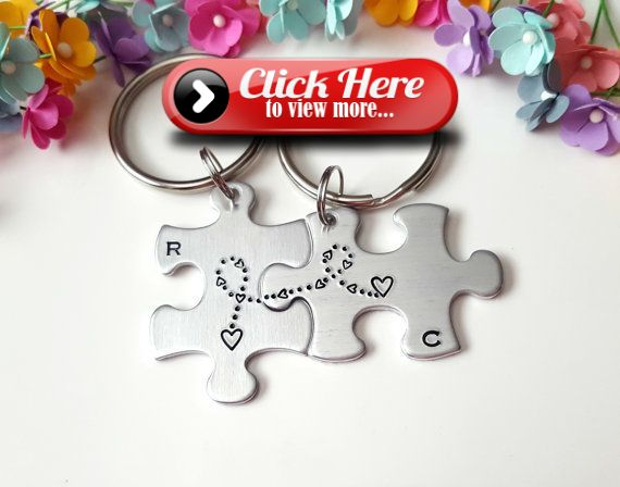 Puzzle Piece Keychains Long Distance Relationship Anniversary Gifts for Boyfriend Personalized Keychain Boyfriend Gift One Year Gift