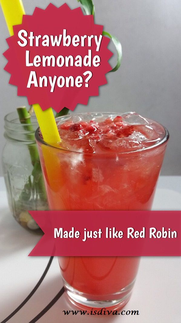 Copycat Sweet-Tart Strawberry Lemonade (Red Robin Strawberry Lemonade)  Great copycat Red Robin Strawberry lemonade. Enjoy this copycat beverage anytime!
