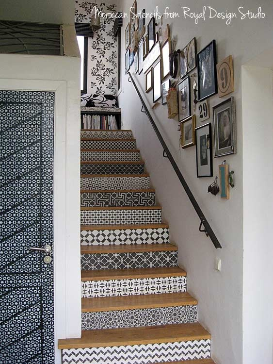 Stenciled stair risers. Done at Peacock Pavilions on a Marrakech painting adventure. Next trip April 2013