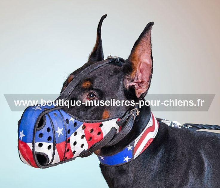 #Muselière de frappe pour #chien de design original motif drapeau américain en cuir véritable -> 68,70 €  @fordogtrainersf Pensez à mentionner «J'aime» si ce produit vous plaît.
