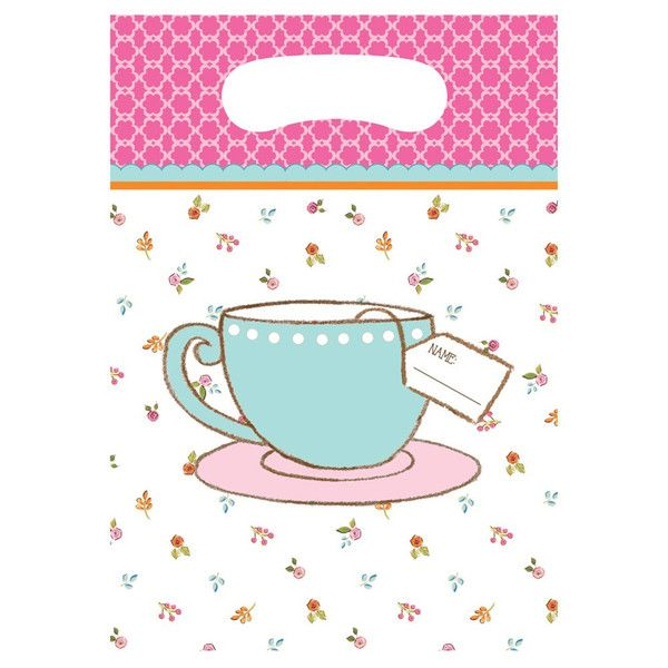 Club Pack of 96 Pink and Blue Tea Time Plastic Party Loot Bags 12  sc 1 st  Pinterest & 17 best Tea Time Theme Birthday Party Tableware images on Pinterest ...
