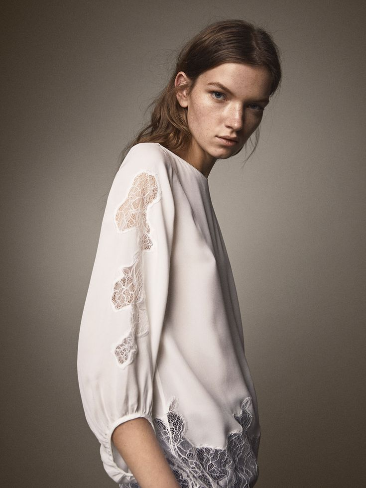 OVERSIZED SILK BLOUSE WITH CONTRASTING LACE - Women - Massimo Dutti