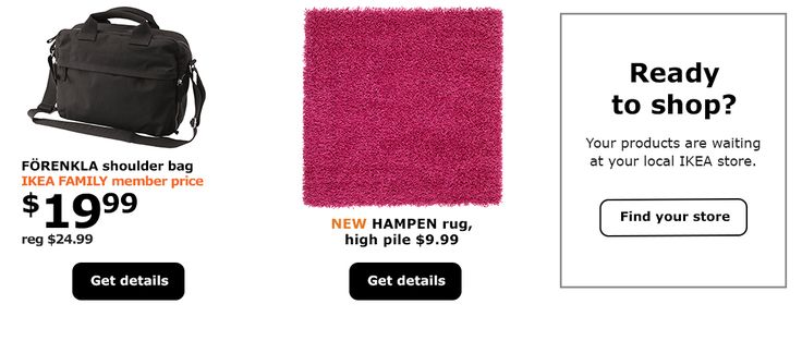 A black IKEA FORENKLA laptop bag with shoulder strap, a bright pink high pile HAMPEN rug, IKEA store locator graphic