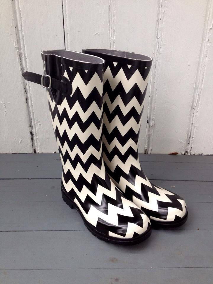Fleurty Girl - Everything New Orleans - Black & White Chevron Rain Boots, $48.95.