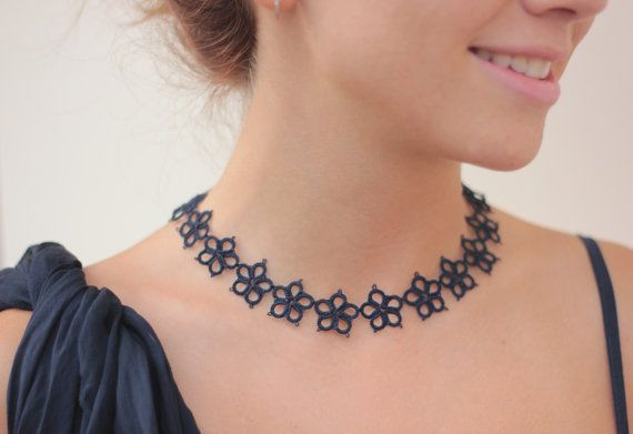 Handmade tatted necklace made of deep navy blue thread  a by smaks