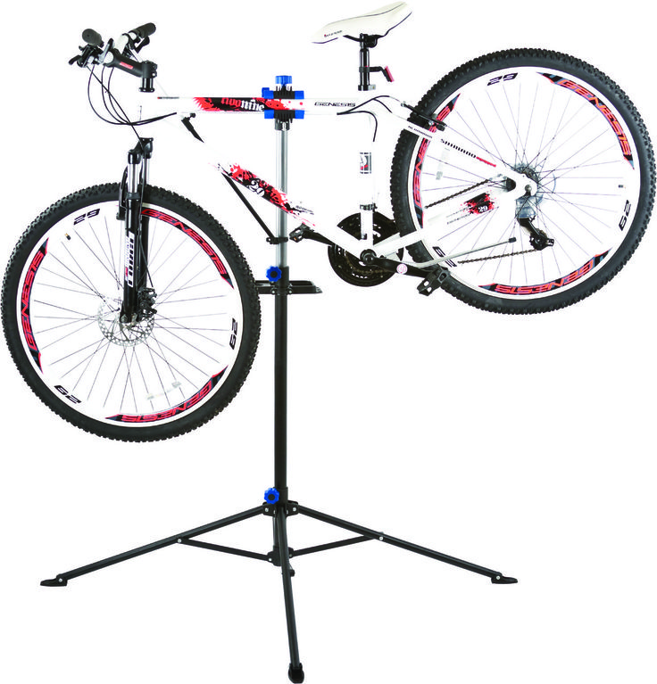 A heavy duty bike repair station with a telescoping stand ...