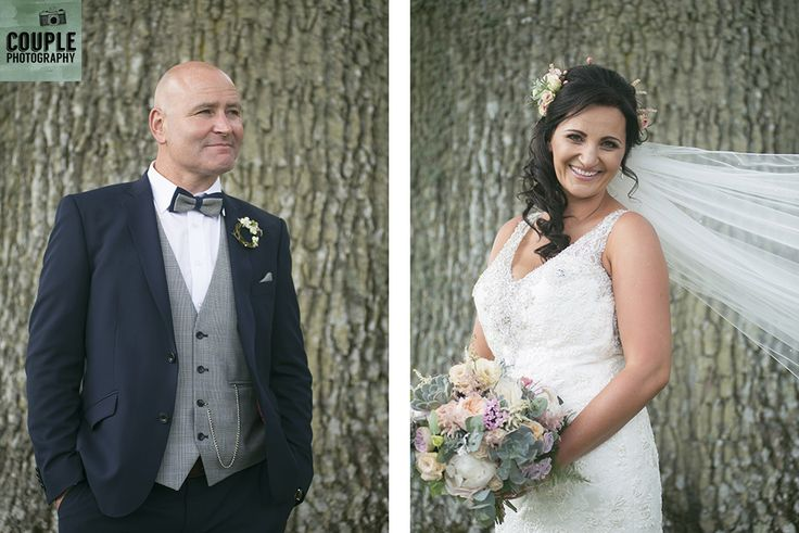 The bride & groom with the amazing old trees at Tankardstown. Weddings at Tankardstown House by Couple  Photography.