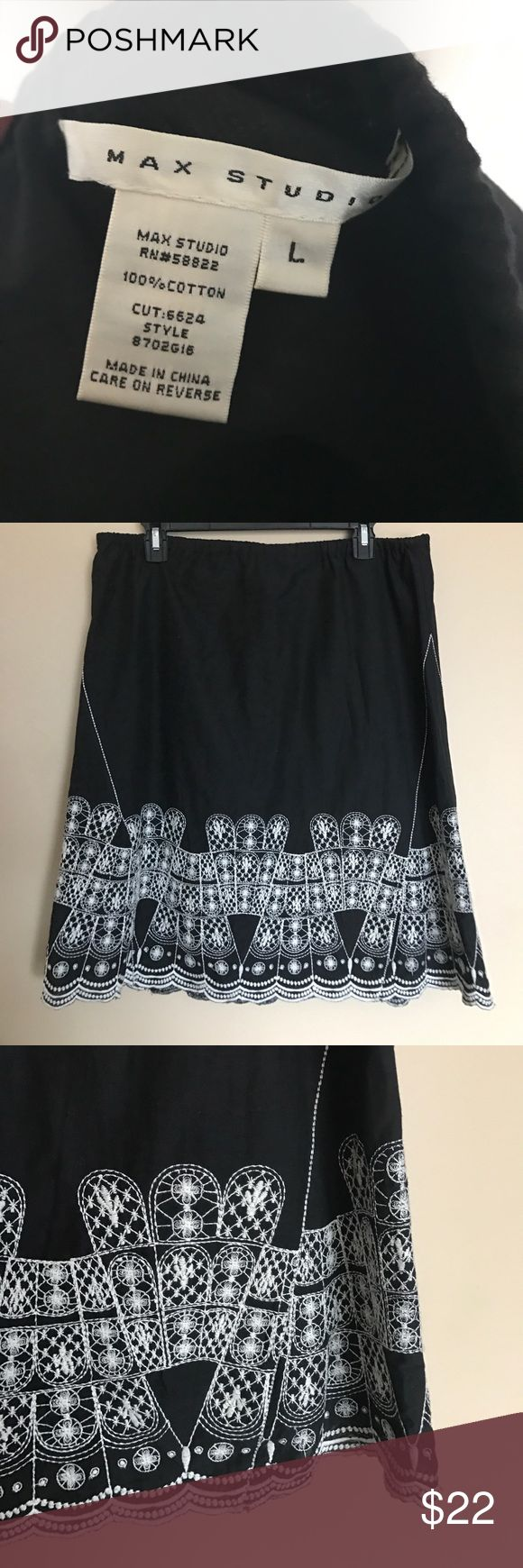 """Max Studio black and white printed detail skirt Max Studio black and white printed vintage like detail skirt! 100% cotton  Approx. 17"""" across and 23"""" long. Can wear this beauty dressed up or down either with sandals and wedges or heels for work. Versatile skirt for all seasons. Max Studio Skirts"""