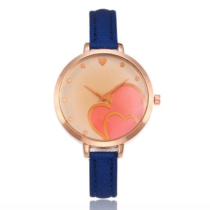 Quartz Watch Women Red Heart Wristwatch Lady Leather Strap Luxury Gold Case Clock Wrist Watch Business zegarki damskie #Affiliate