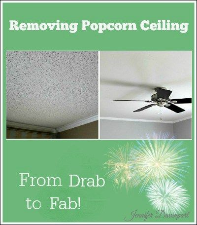 Removing popcorn ceiling. Step-by-step photo tutorial on how to update your ceiling!