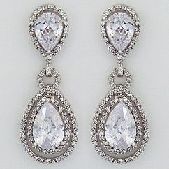 CZ teardrop earrings for weddings & evening wear. Large CZ teardrop bridal earrings with pave border. Discover your vintage glam at Perfect Details.