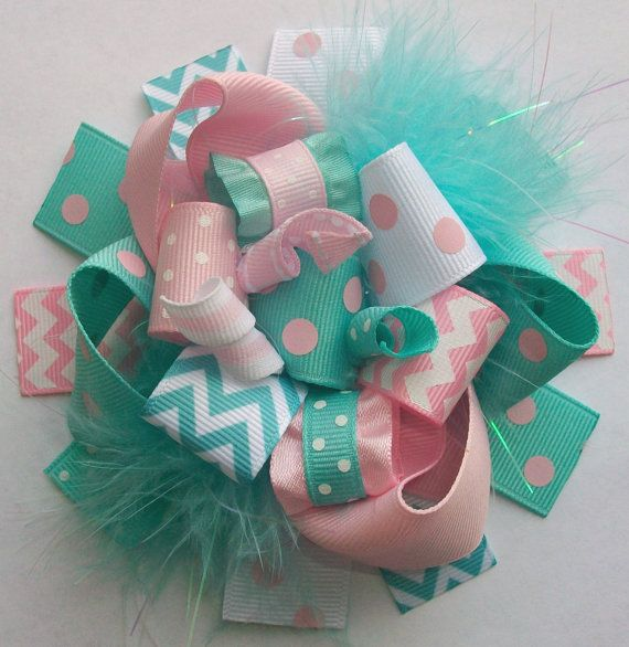 Chevron Hair Bow Hair bow Hair bows Hairbow Girls by 4baublesnbows, $9.99 my sister would love this for her two little girls