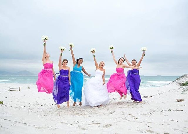 """Happy Friday 💙💗💜 Friday's are the best with friends - Tag your bestie! @doriancarlymartins @lindsey_bont (This is a pic from Sam's wedding - her bridesmaids are wearing our """"MANDY"""" maxi dress) #missfriday #bridesmaids #mandymaxidress #chiffon #dress #mandy #gorgeous #friday #summer2015 #beach #friends #wedding #happiness #memories #love"""