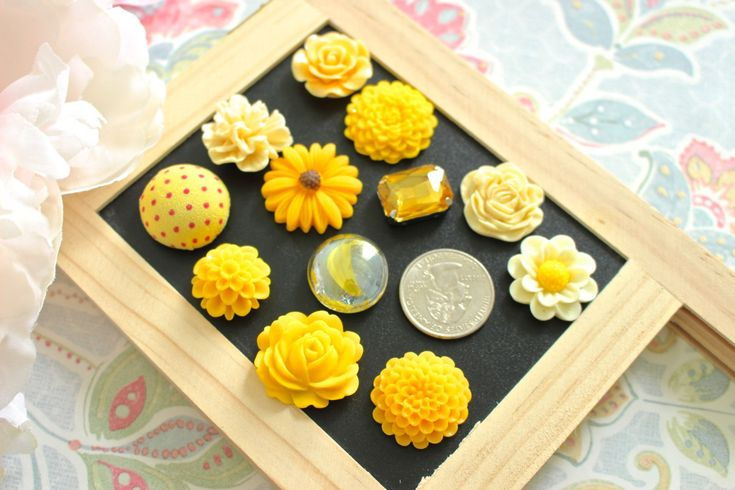 Mixed Yellow 12 Piece Flower Fridge Magnet, Strong Magnet, Flower Magnets, Locker Magnets, Kitchen Magnets, Office Magnets, Yellow Magnets by fluteofthehour on Etsy