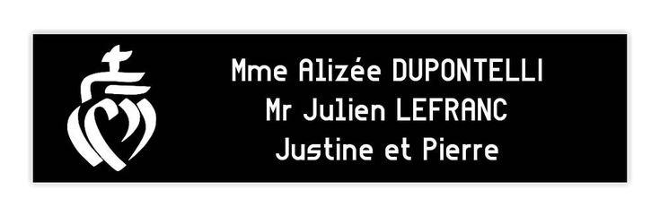 noire lettres blanches 1 ligne 100x25mm Plaque boite aux lettres Decayeux NUMERO
